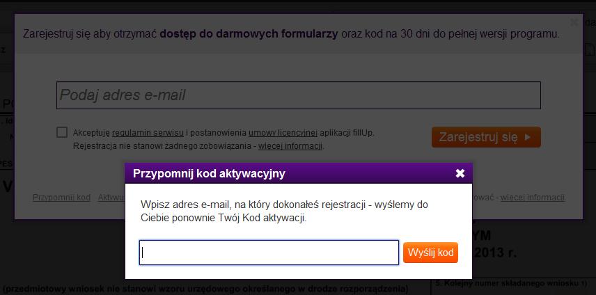 ce0f2711976771 Jeżeli program fillUp ponownie prosi o rejestrację, kliknij w menu Pomoc ->  Licencja -> Przypomnij kod. Wyświetli się okno, w którym wpisz adres e-mail,  ...